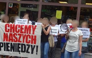 ZSP-Kundgebung vor Supermarkt MarcoPol in Warschau