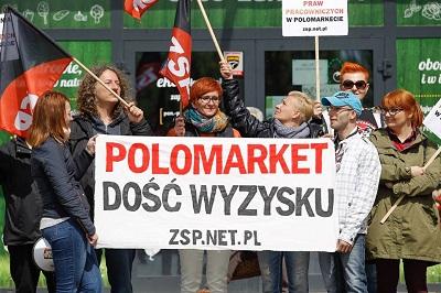 Polen: Protest beim PoloMarket (ZSP-IAA)